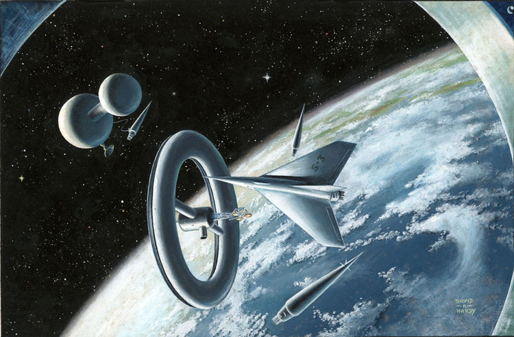 David A. Hardy - Ferry Rocket Space Station