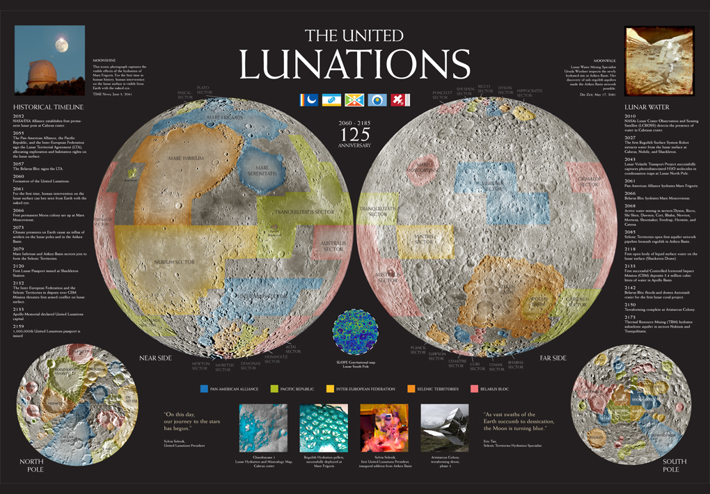 Commemorative map celebrating the 125th anniversary of the United Lunations (2060 - 2185).